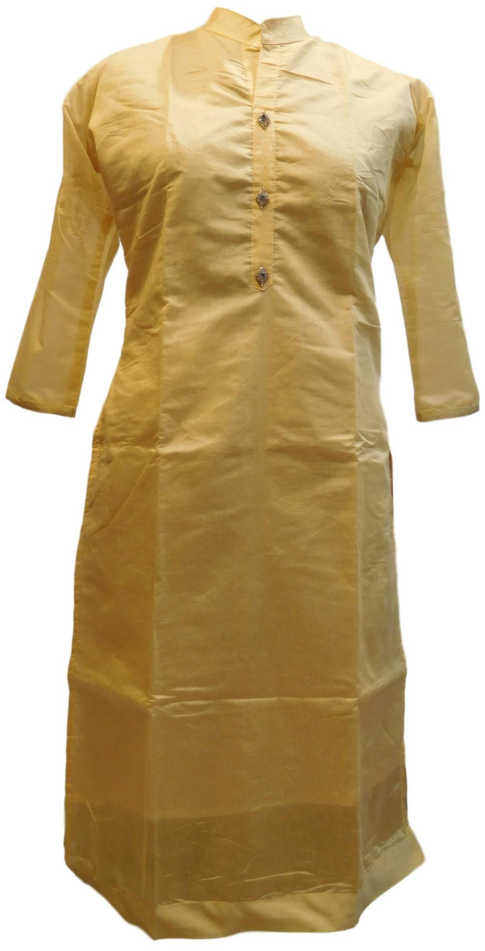 Beige Designer Cotton (Chanderi) Hand Embroidery Stone Work Kurti Kurta