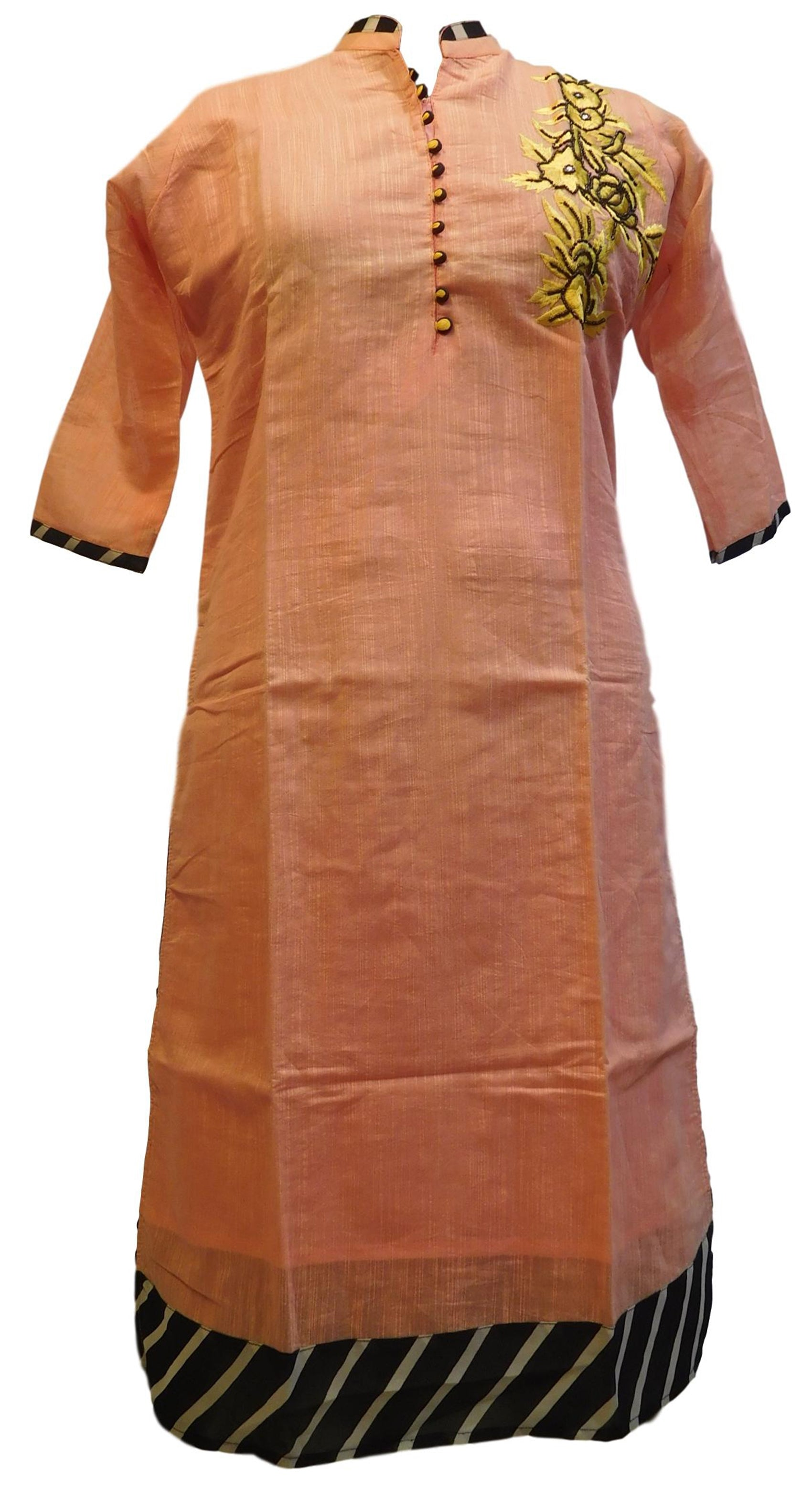 Peach Designer Cotton (Chanderi) Hand Embroidery Thread Beads Work Kurti Kurta D276