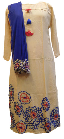Beige Designer Georgette (Viscos) Hand Embroidery Thread Work Kurti Kurta With Blue Dupatta D279