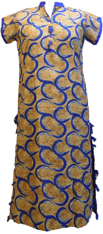 Yellow & Blue Designer Pure Cotton Hand Brush Printed Gown Style Kurti Kurta D288