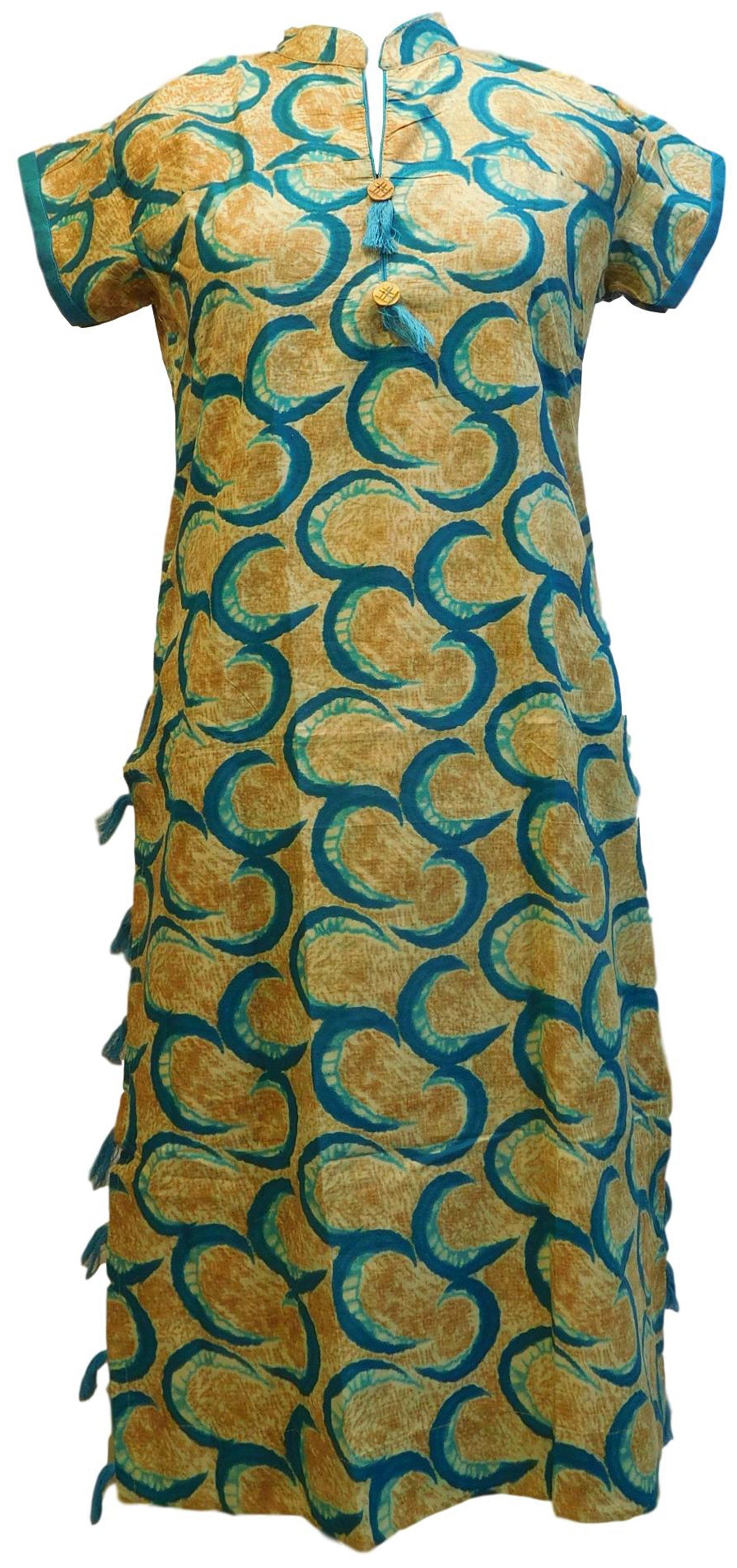 Yellow & Turquoise Designer Pure Cotton Hand Brush Printed Gown Style Kurti Kurta D290