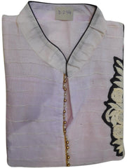 White Designer Cotton (Chanderi) Hand Embroidery Thread Pearl Work Kurti Kurta D294