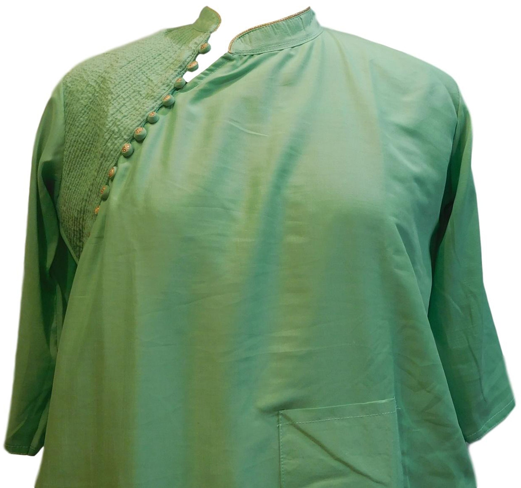 Green Designer Silk (Muslin) Hand Embroidery Thread Work Kurti Kurta D295