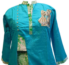 Turquoise Designer Silk (Muslin) Hand Embroidery Thread Zari Sequence Work Butique Style Kurti Kurta With Matching Plazo D297