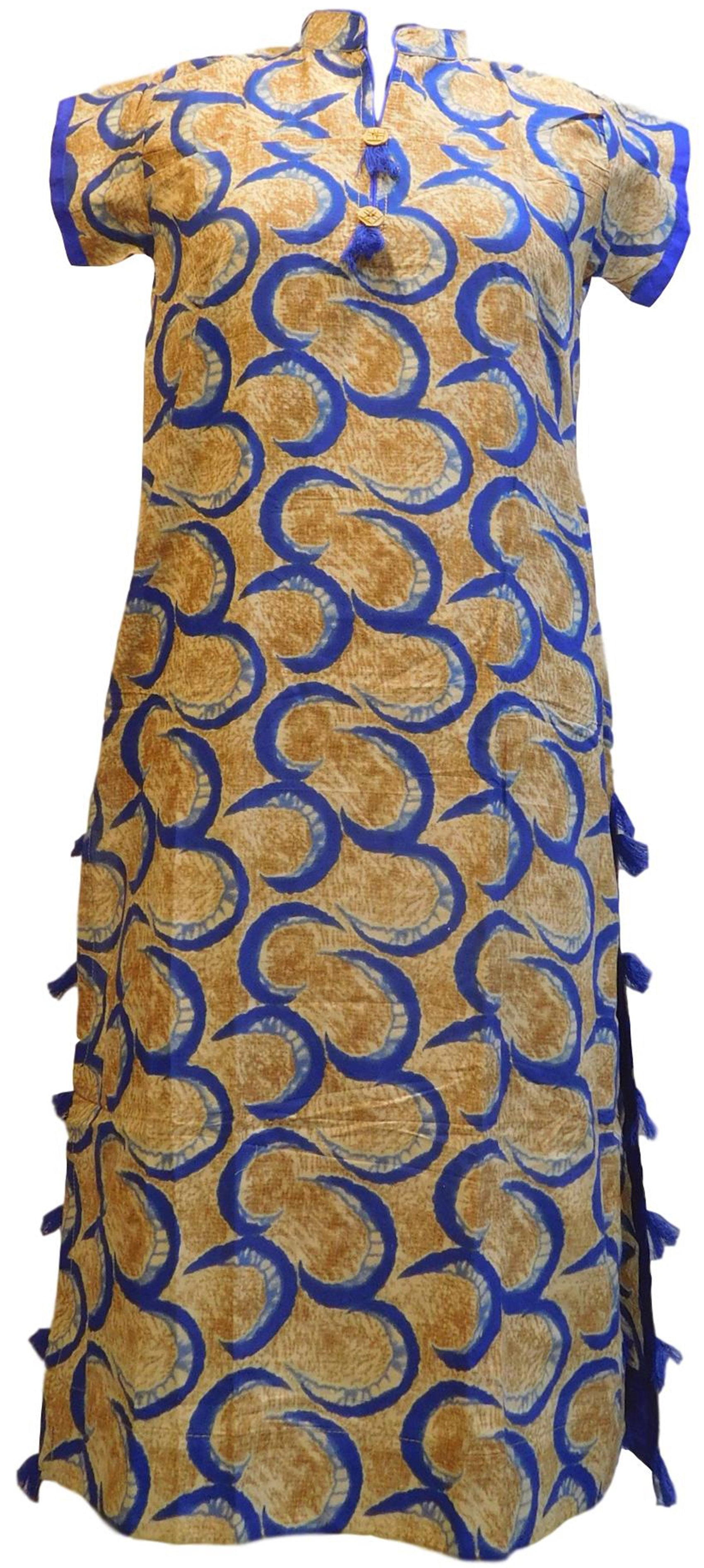 Yellow & Blue Designer Pure Cotton Hand Brush Printed Gown Style Kurti Kurta D302