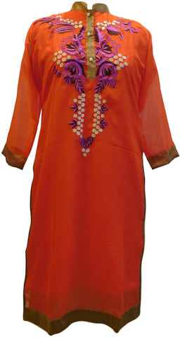 Red Designer Georgette Hand Embroidery Thread Pearl Work Kurti Kurta D304