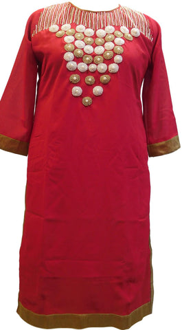 Red Designer Georgette Hand Embroidery Beads Pearl Work Kurti Kurta D306