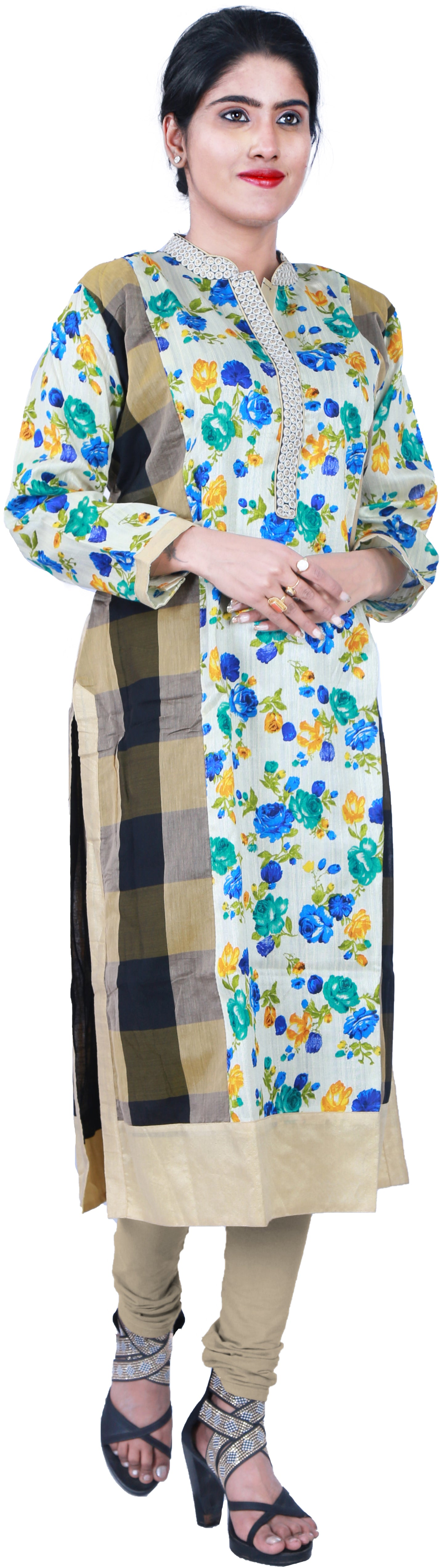 SMSAREE Mult-Colour Designer Casual Partywear Floral Printed Raw Silk Zari & Thread Hand Embroidery Work Stylish Women Kurti Kurta With Free Matching Leggings D307