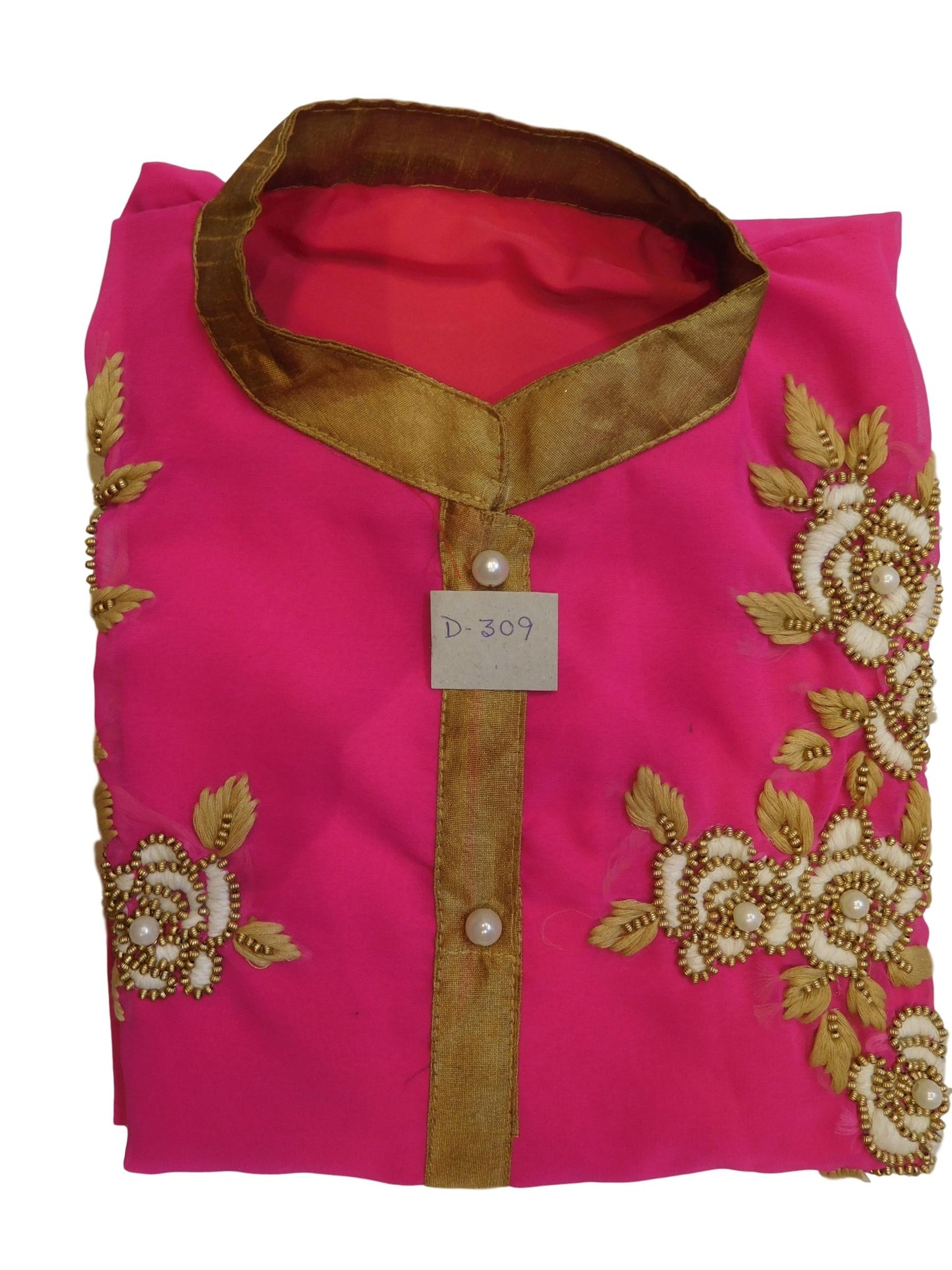 Pink Designer Georgette Hand Embroidery Thread Beads Pearl Work
