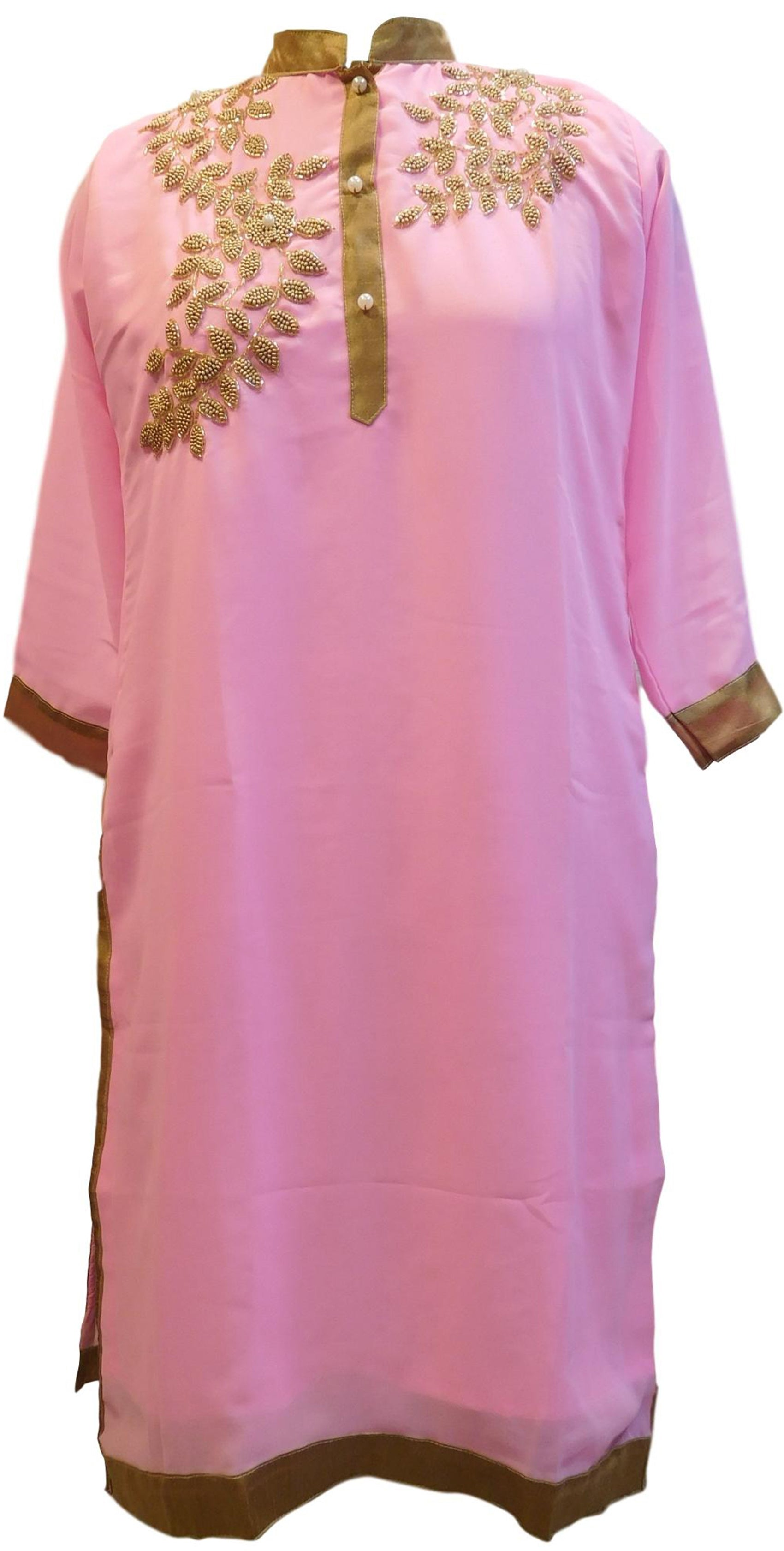 Baby Pink Designer Georgette Hand Embroidery Cutdana Beads Pearl Work Kurti Kurta D310