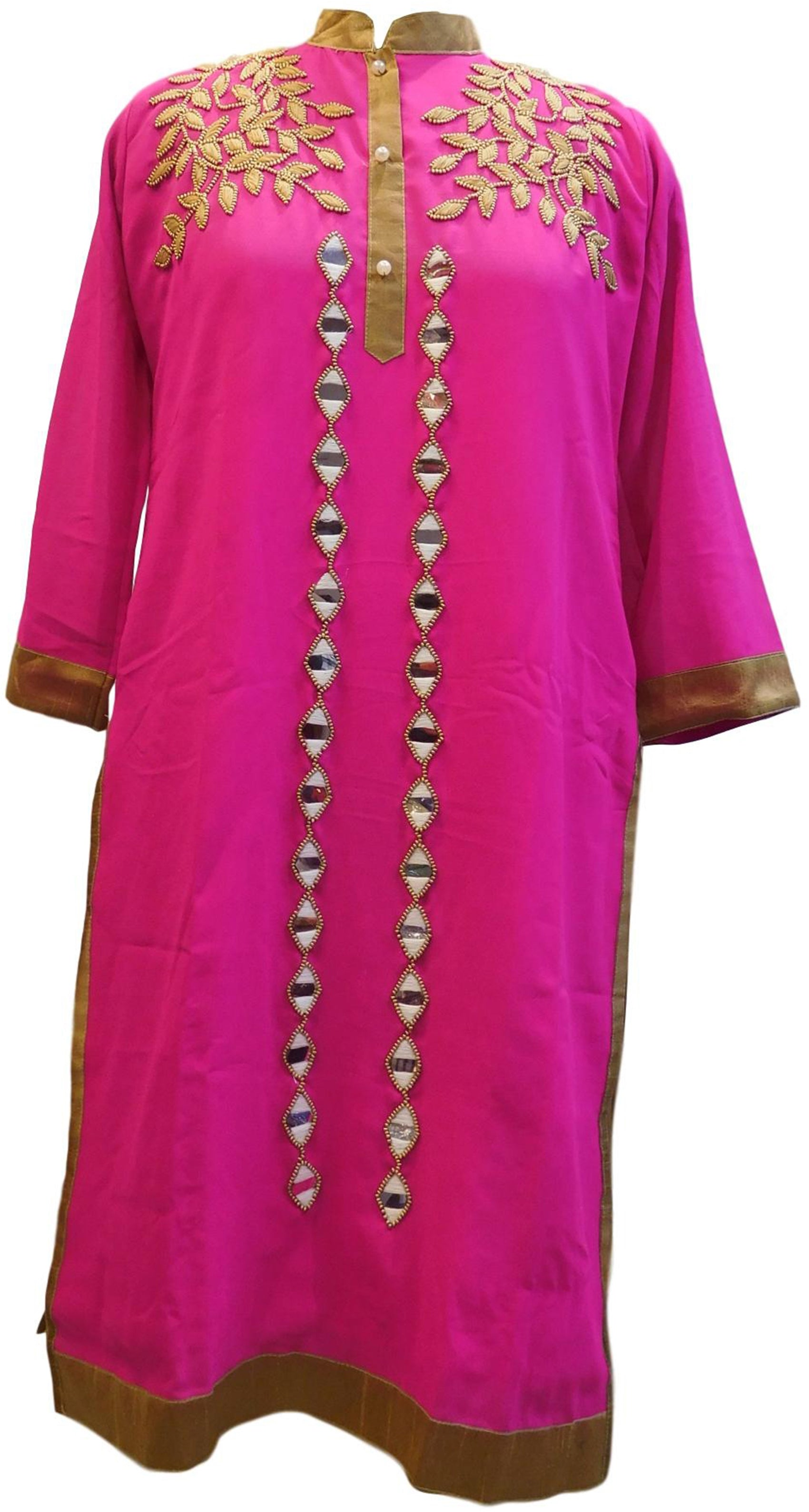 Pink Designer Georgette Hand Embroidery Mirror Thread Beads Pearl Work Kurti Kurta D311