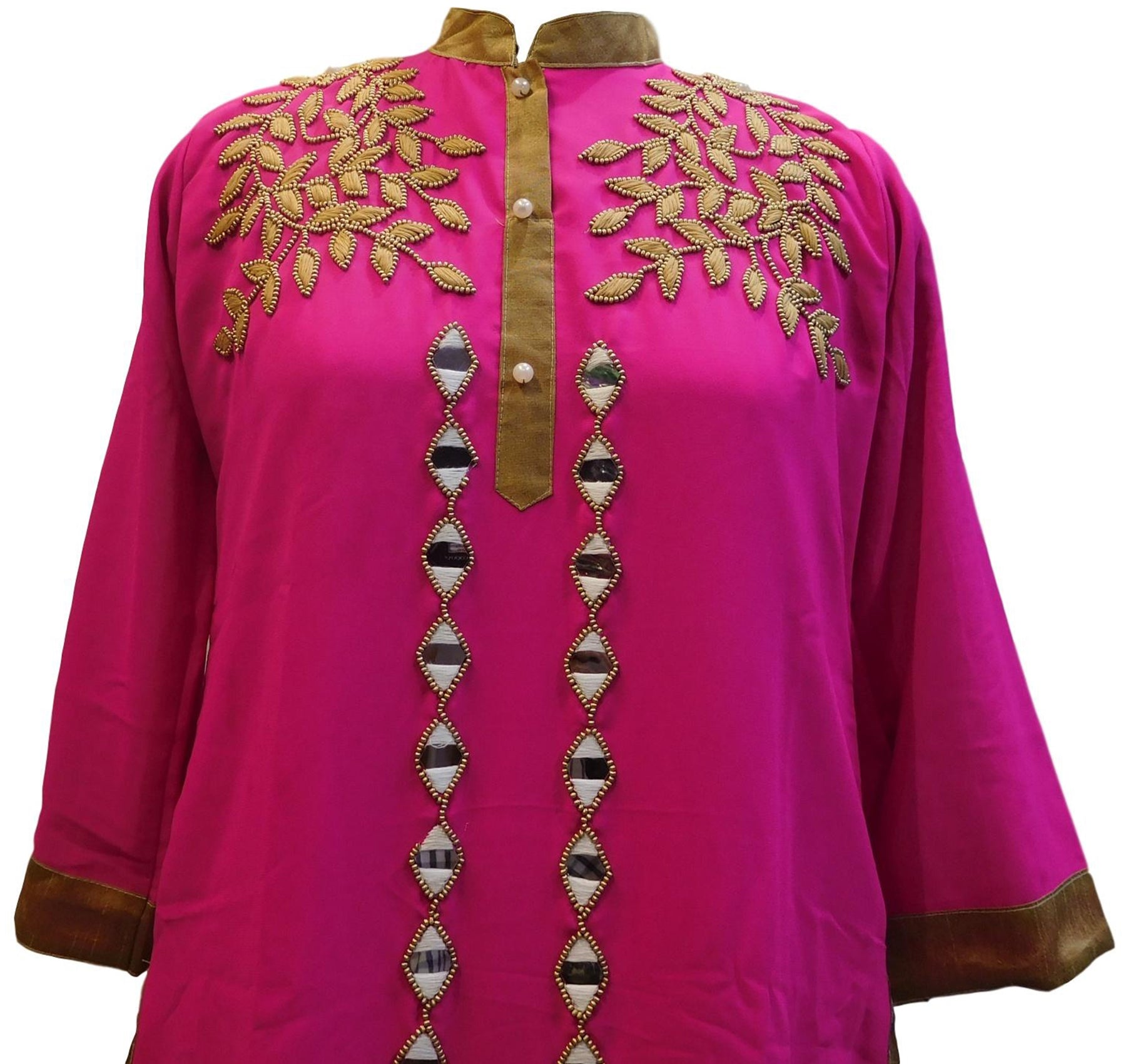 Pink Designer Georgette Hand Embroidery Mirror Thread Beads Pearl