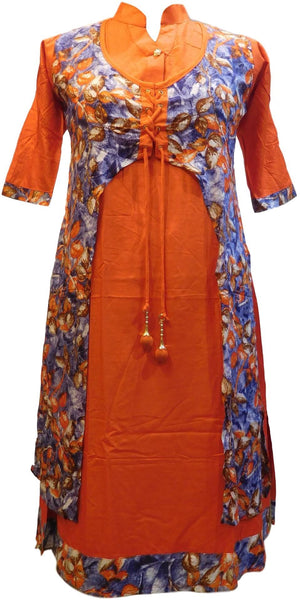 Orange & Blue Designer Silk (Rayon) Printed Butique Style Jacket Kurti Kurta D316