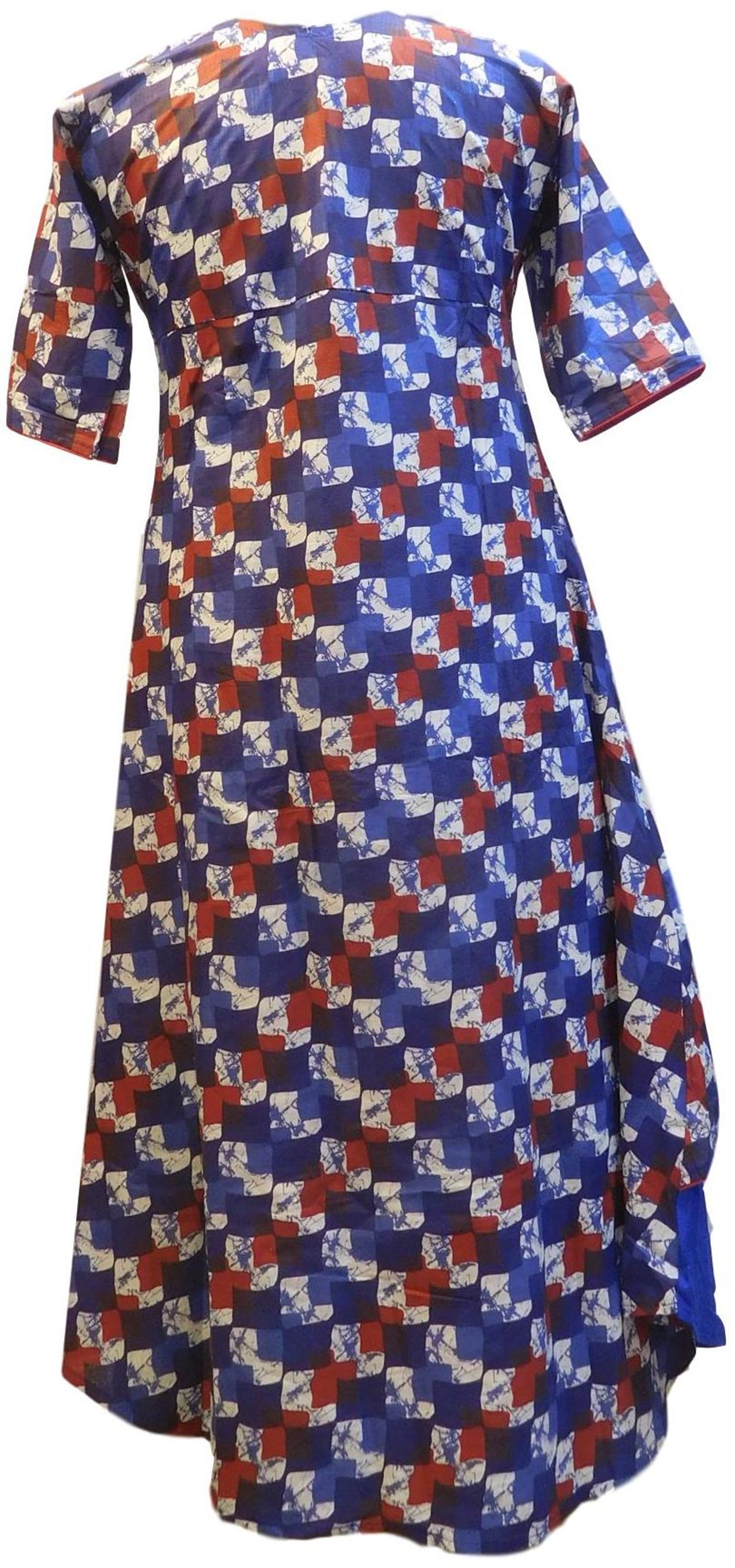 Blue Red & White Designer Silk (Rayon) Printed Butique Style Jacket Kurti Kurta D323