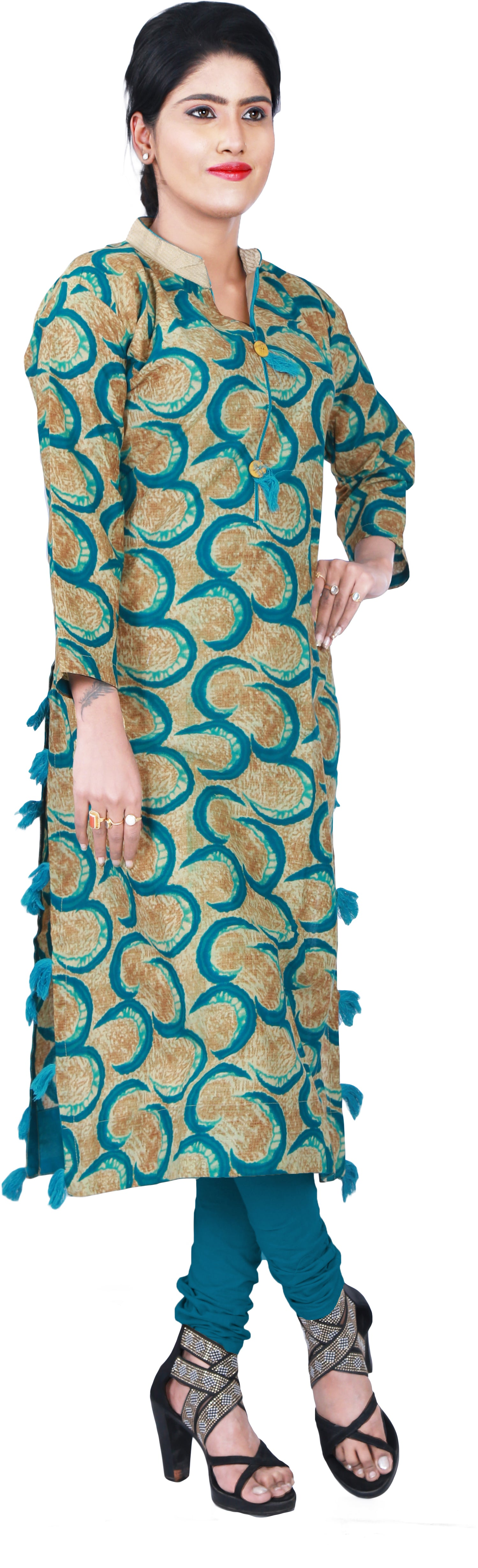 SMSAREE Brown & Turquoise Designer Casual Partywear Pure Cotton Printed Thread Hand Embroidery Work Stylish Women Kurti Kurta With Free Matching Leggings D343