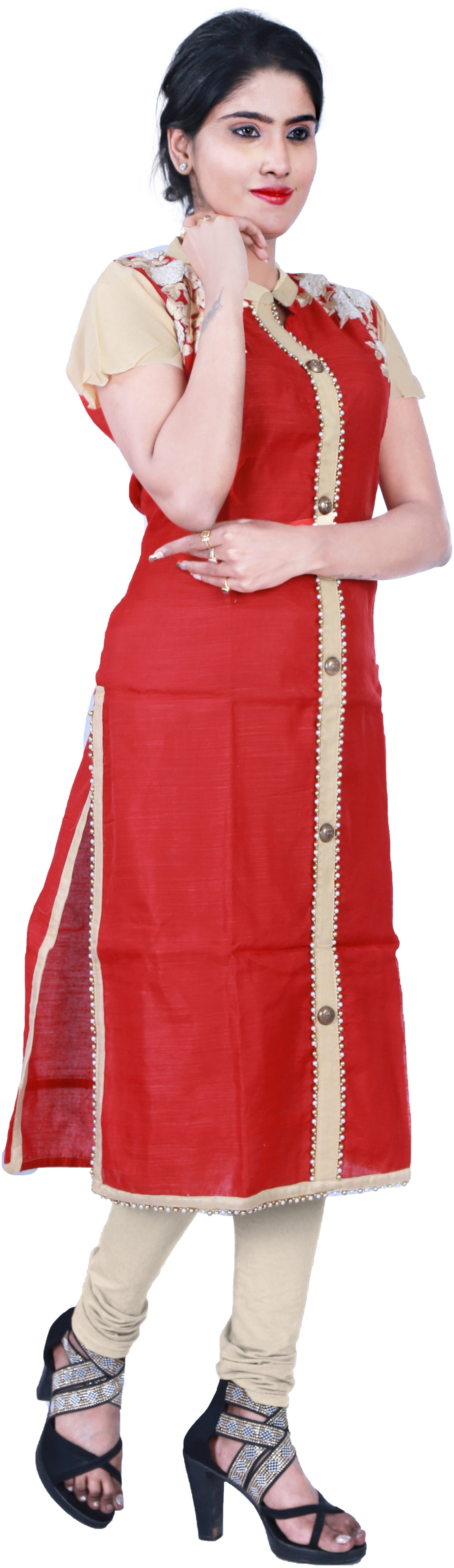 SMSAREE Red & Beige Designer Casual Partywear Cotton (Chanderi) & Georgette Sleeves Thread & Pearl Hand Embroidery Work Stylish Women Kurti Kurta With Free Matching Leggings D364