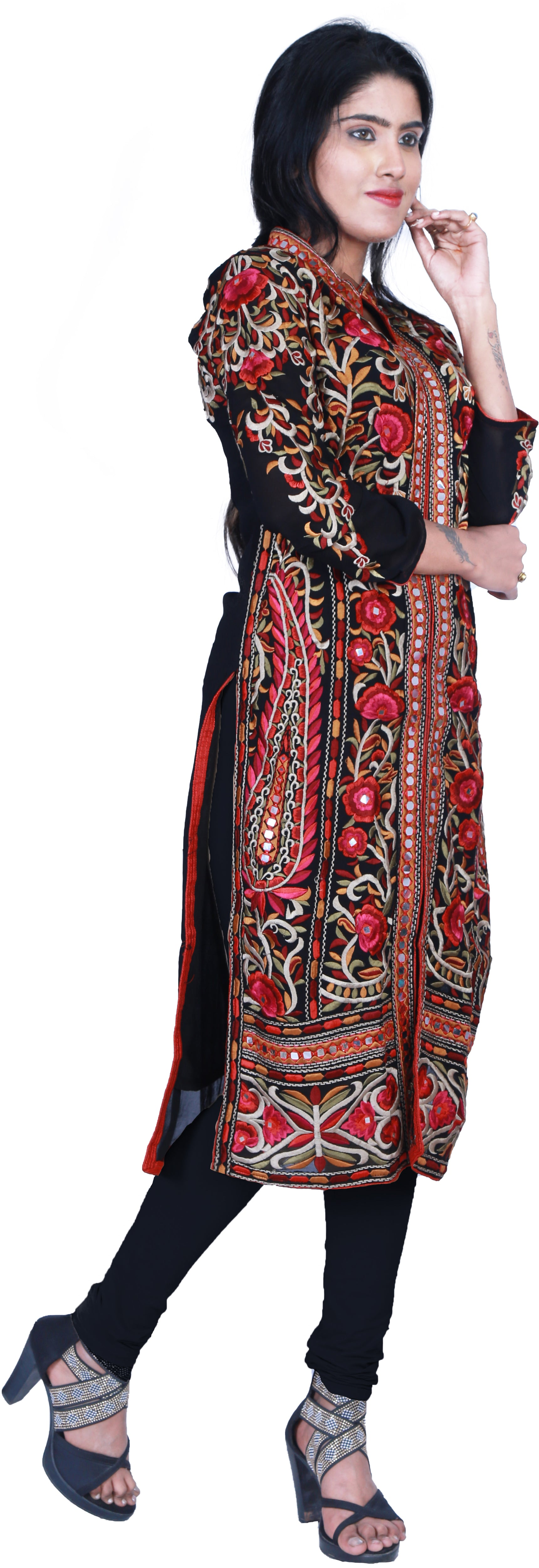 SMSAREE Black Designer Casual Partywear Geogette Viscos Thread & Mirror Hand Embroidery Work Stylish Women Kurti Kurta With Free Matching Leggings D366
