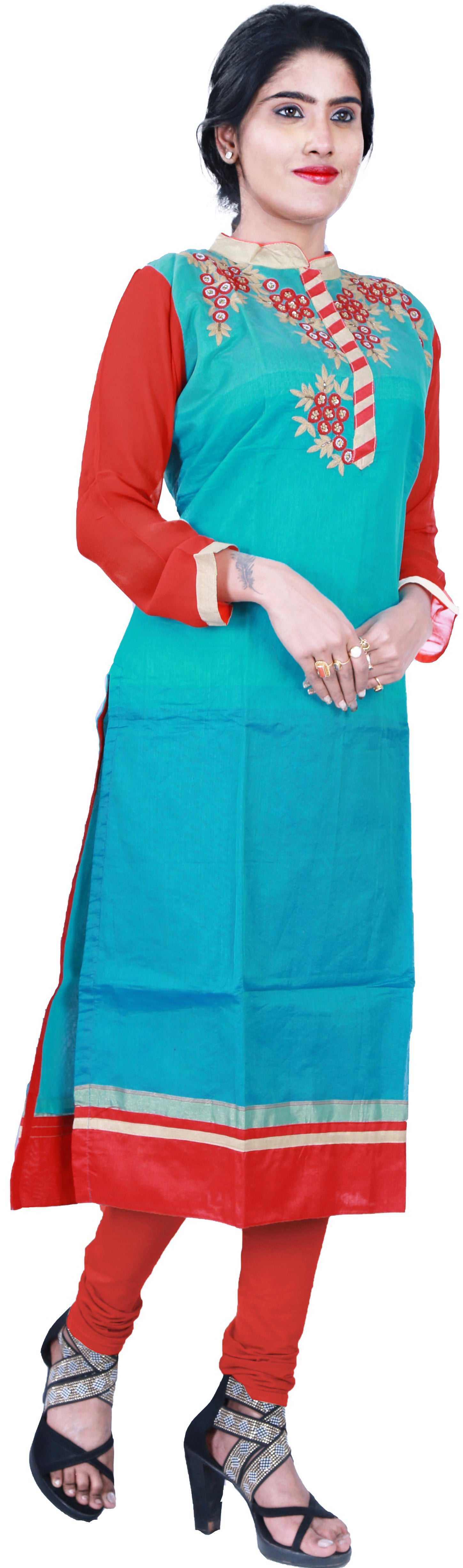 SMSAREE Turquoise & Red Designer Casual Partywear Cotton (Chanderi) & Georgette Viscos Sleeves Thread Cutdana Sequence & Beads Hand Embroidery Work Stylish Women Kurti Kurta With Free Matching Leggings D370