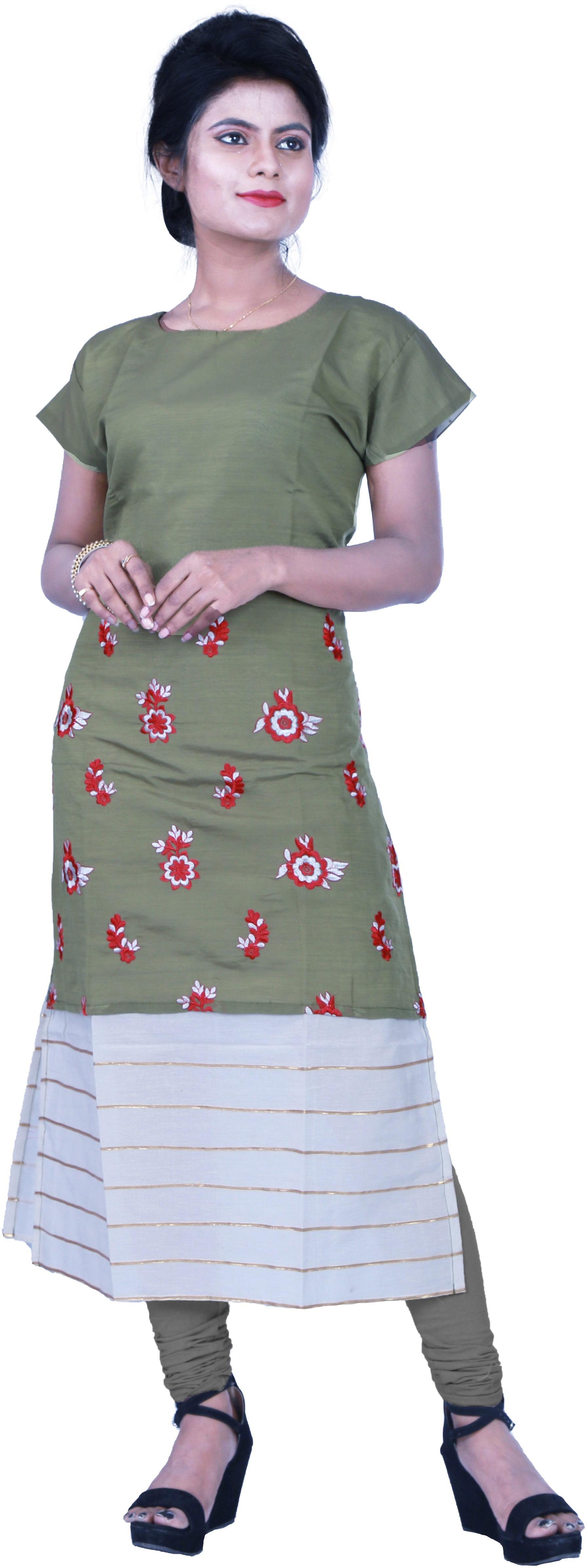 SMSAREE Green Designer Casual Partywear Pure Cotton Thread & Gota Hand Embroidery Work Stylish Women Kurti Kurta With Free Matching Leggings D503