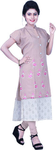 SMSAREE Grey Designer Casual Partywear Pure Cotton Thread & Gota Hand Embroidery Work Stylish Women Kurti Kurta With Free Matching Leggings D507
