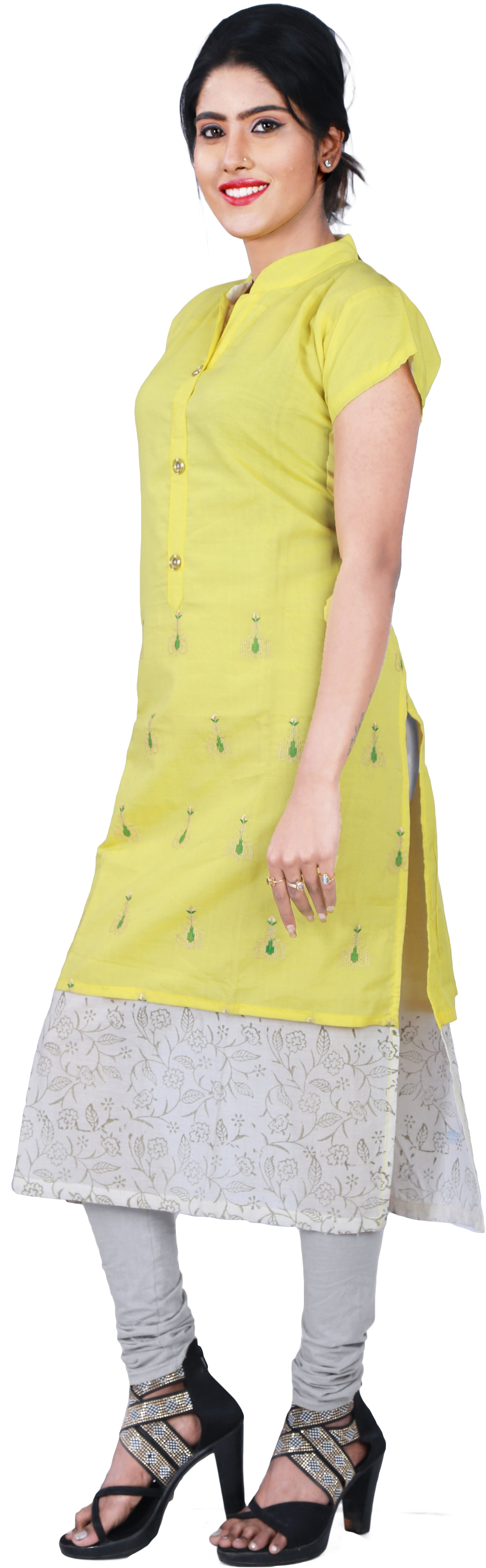 SMSAREE Yellow Designer Casual Partywear Pure Cotton Thread & Gota Hand Embroidery Work Stylish Women Kurti Kurta With Free Matching Leggings D514