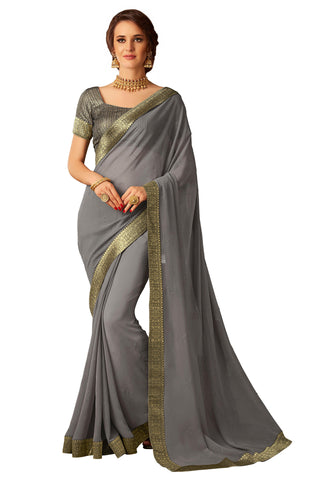 Grey Chiffon Full Designer Saree Sari