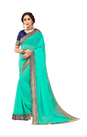 Green Georgette Jacquard Border Designer Saree Sari