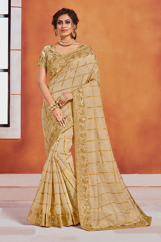 Gold Jute Silk Fancy Designer Saree Sari