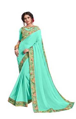Green Georgette Border Embroidered Fancy Designer Saree Sari