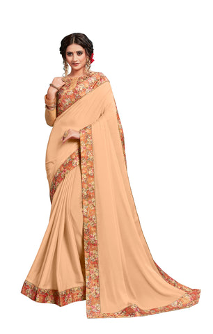 Beige Georgette Border Embroidered Fancy Designer Saree Sari
