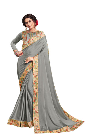 Grey Georgette Border Embroidered Fancy Designer Saree Sari