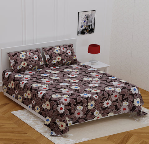 Brown Glace Cotton Double Bed Printed Bedsheet