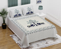 Off White Pure Cotton Double Bed Printed Bedsheet