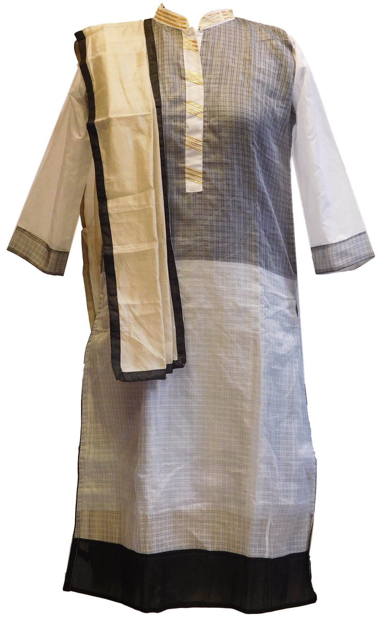 Black & White Designer Cotton (Supernet) Kurti With Chiffon Dupatta