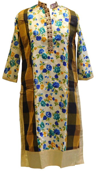 Multicolor Designer Floral Printed Raw Silk Kurti With Zari Mirror Taping