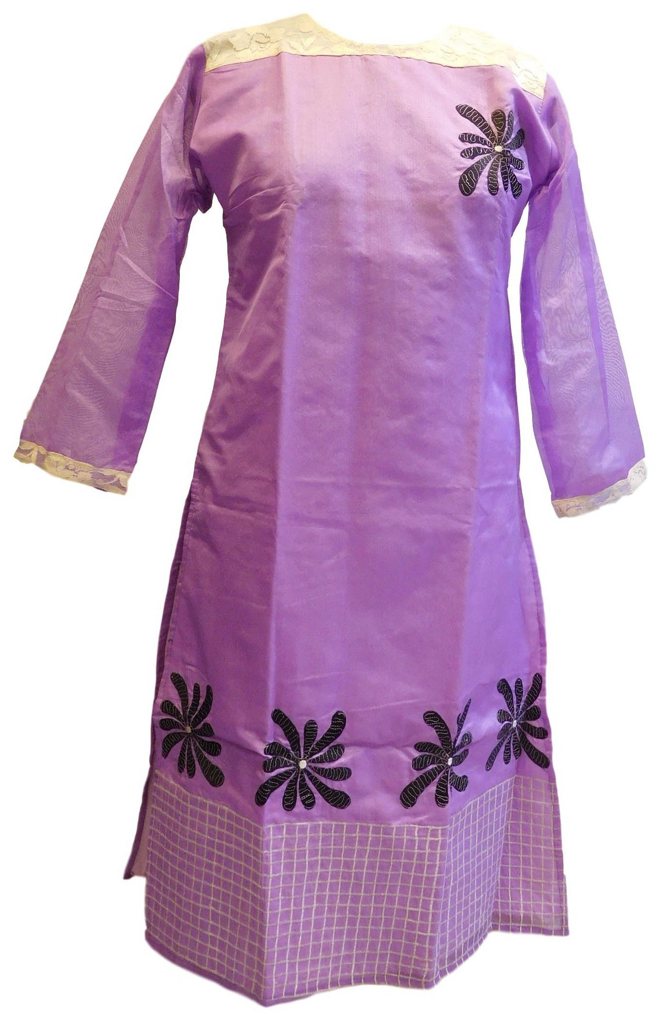Violet Designer Cotton (Chanderi) Kurti