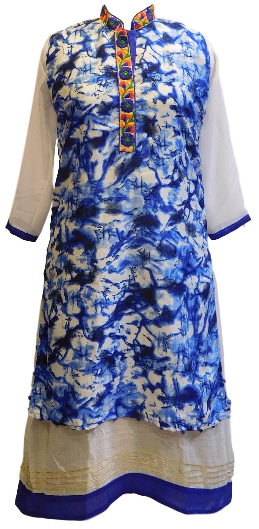 Blue & White Designer Cotton (Chanderi) Kurti With Attached Skirt