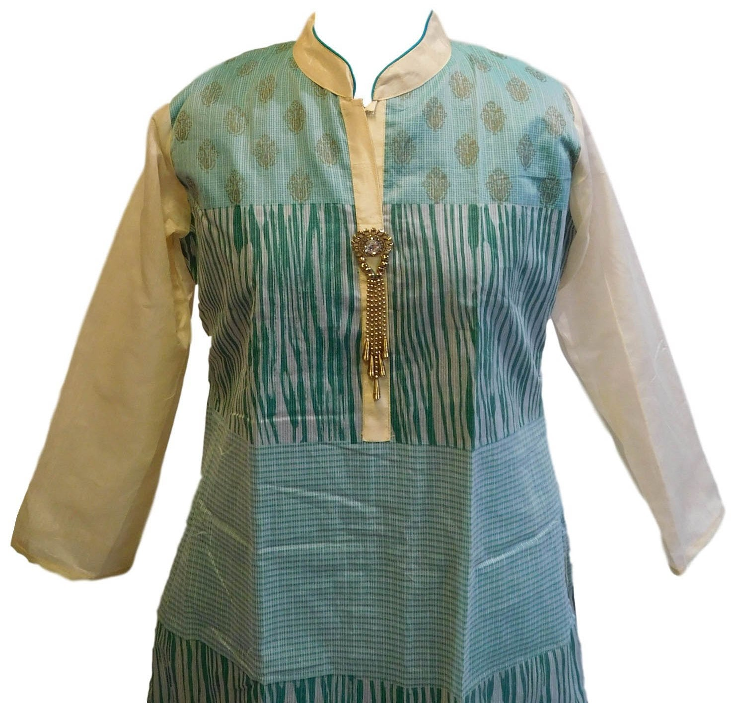 Turquoise & White Designer Cotton (Chanderi) Kurti
