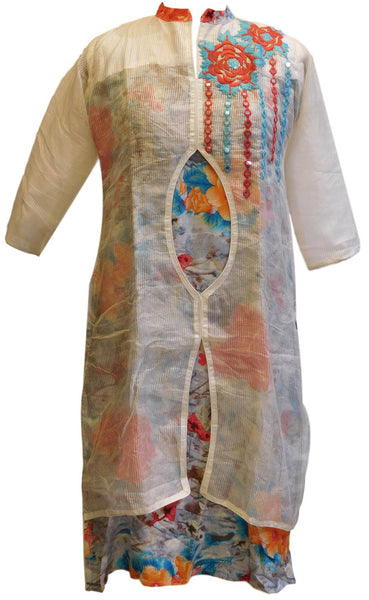 White Designer Cotton (Chanderi) Kurti