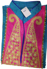 Blue & Pink Designer Cotton (Chanderi) Kurti