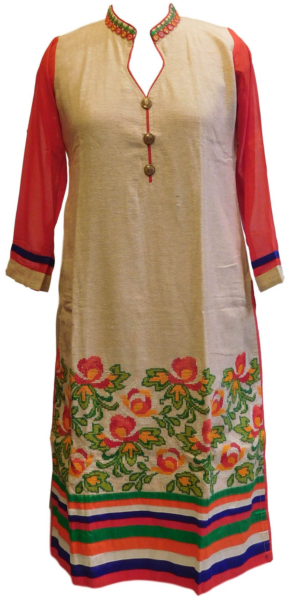 Red & Cream Designer Cotton (Chanderi) Kurti