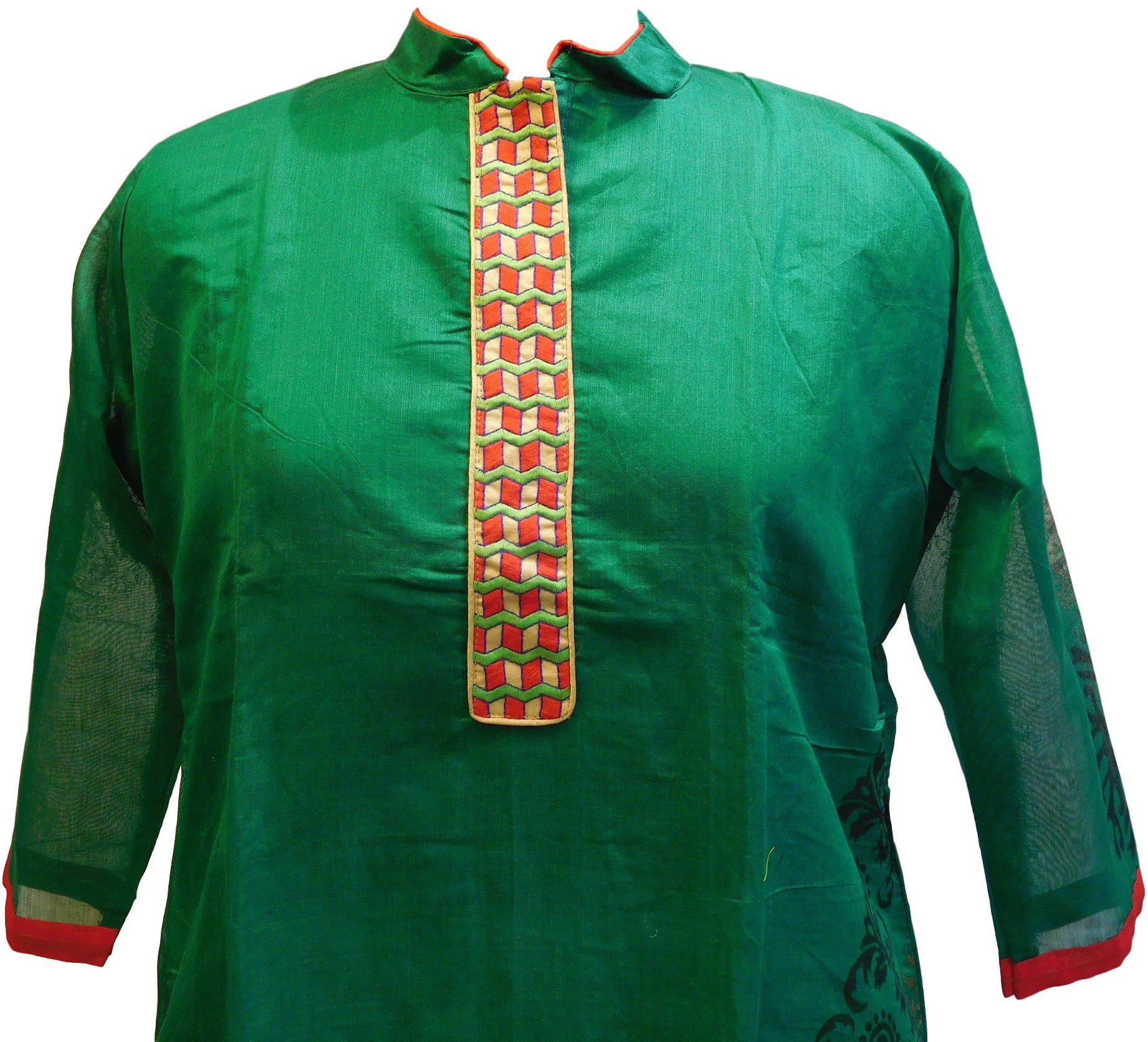 Sea Green & Red Designer Cotton (Chanderi) Kurti