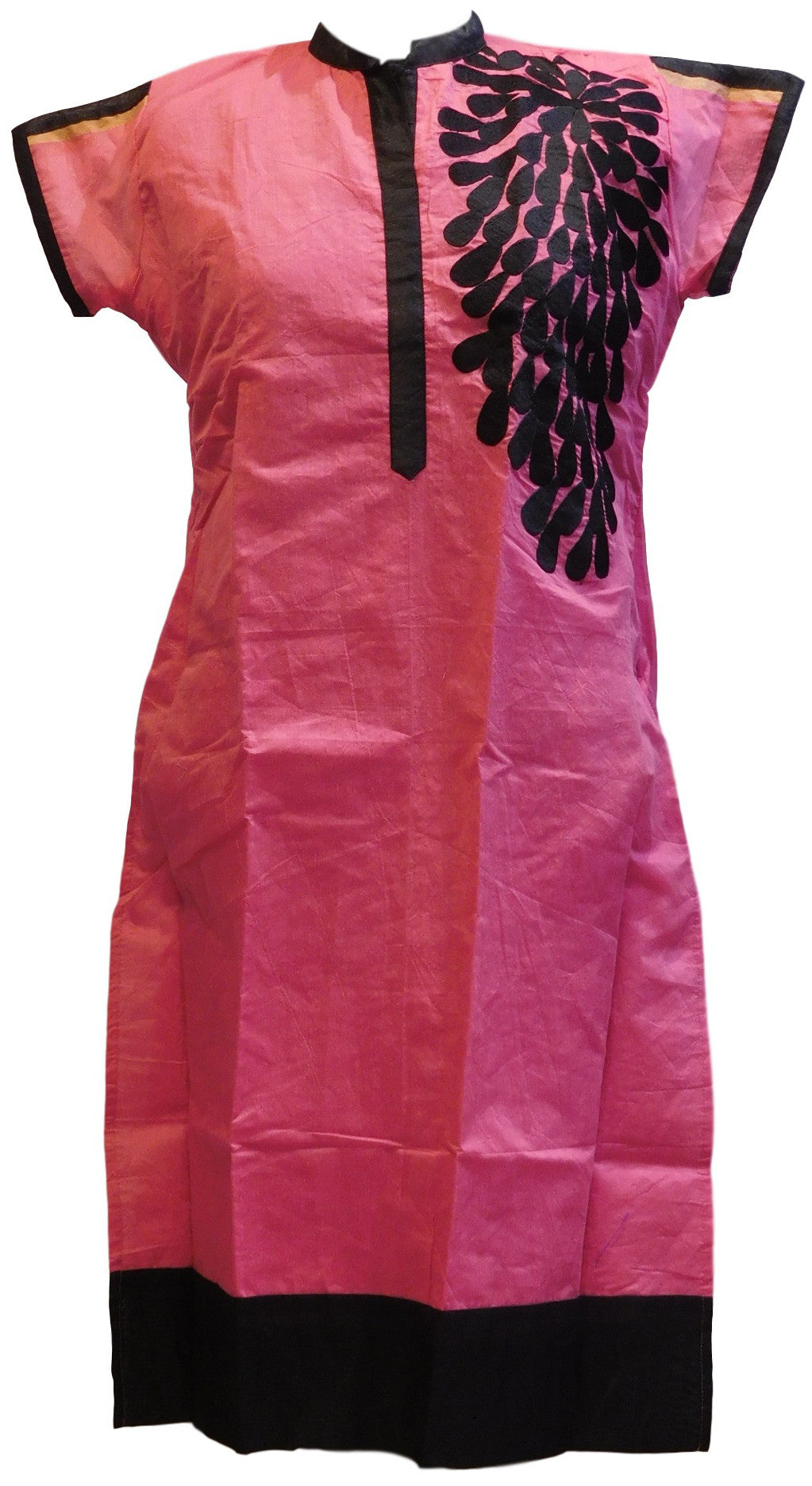 Pink & Black Designer Cotton (Chanderi) Kurti