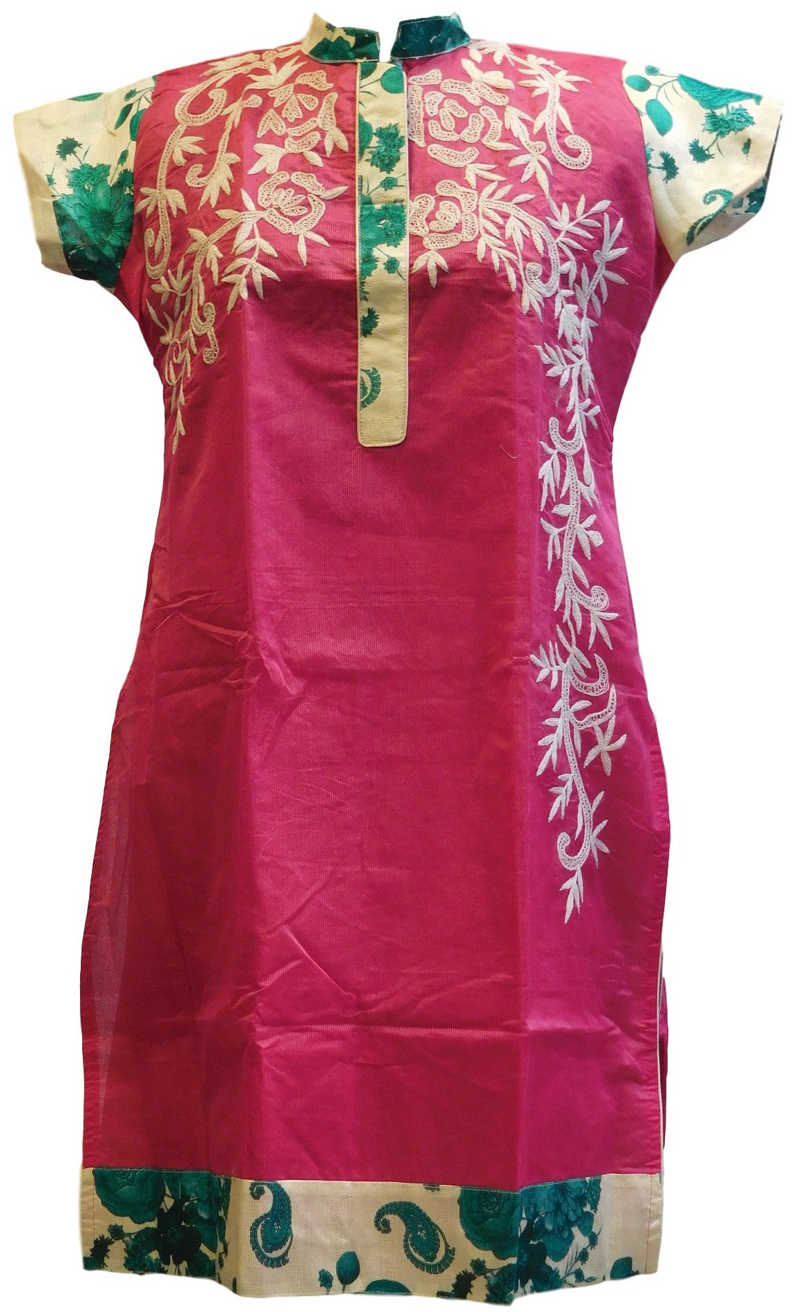 Pink & White Designer Cotton (Chanderi) Kurti