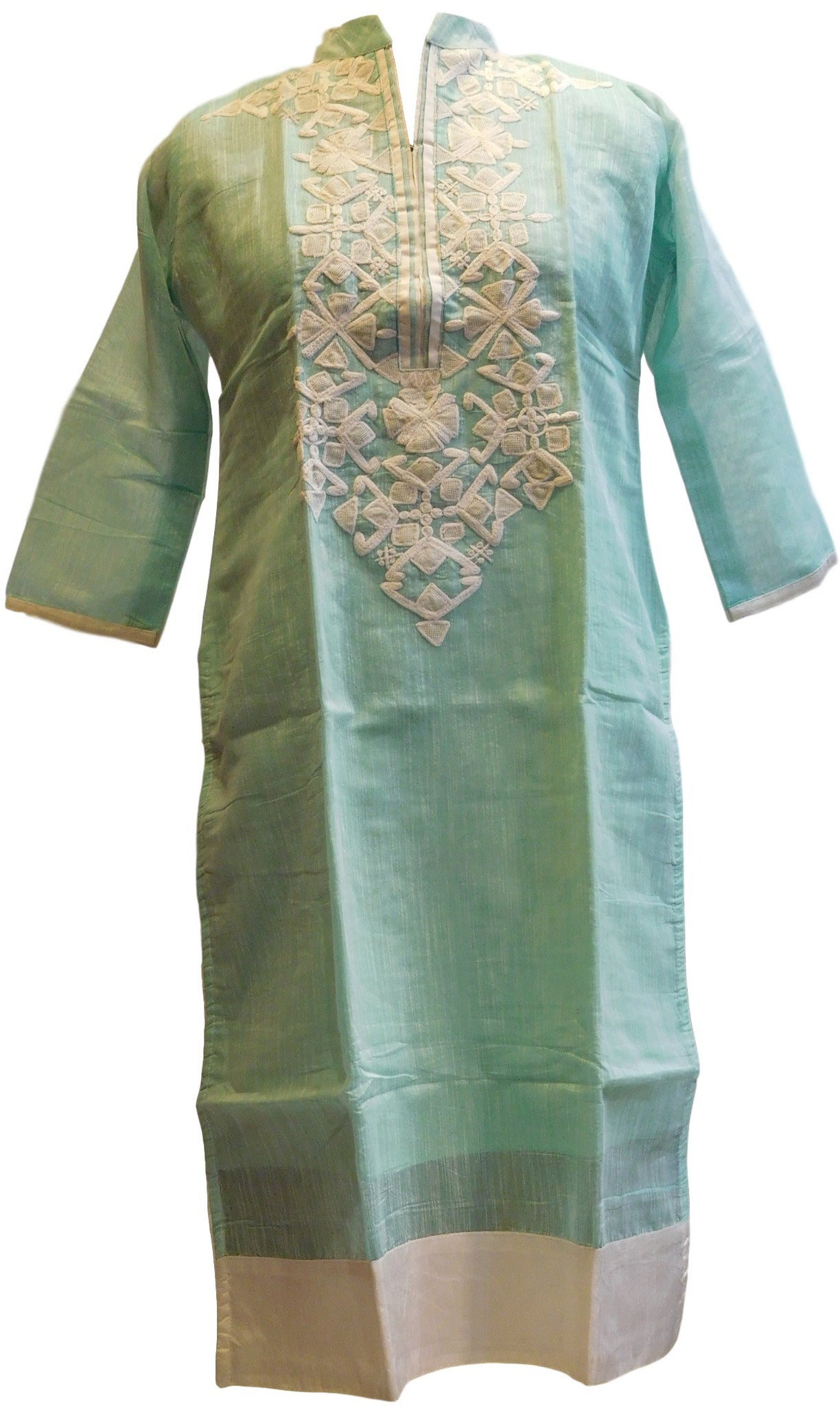Sea Green & White Designer Cotton (Chanderi) Kurti