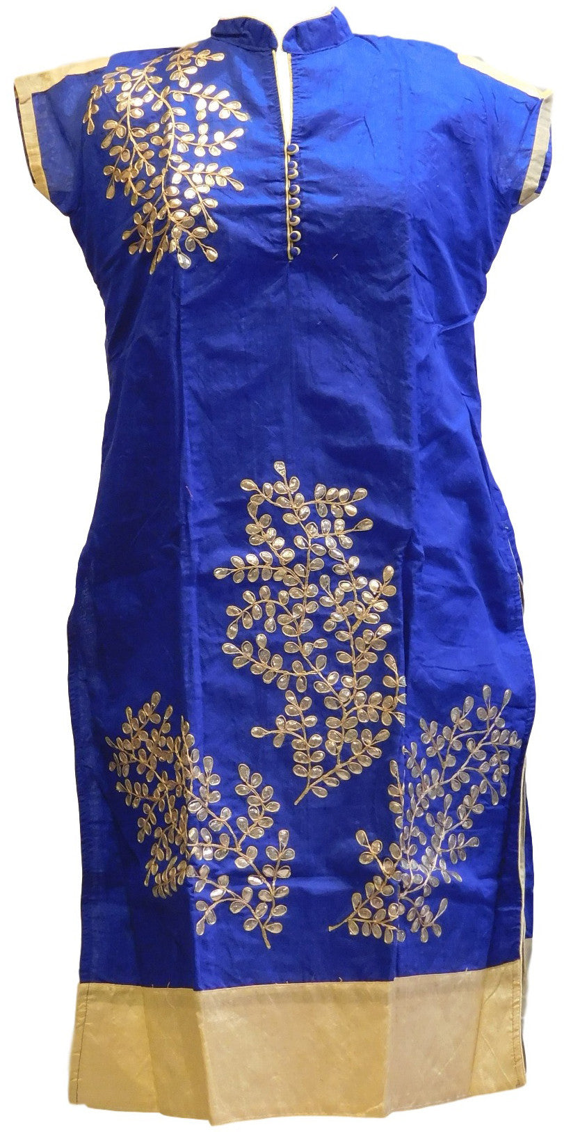 Blue & Cream Designer Cotton (Chanderi) Kurti