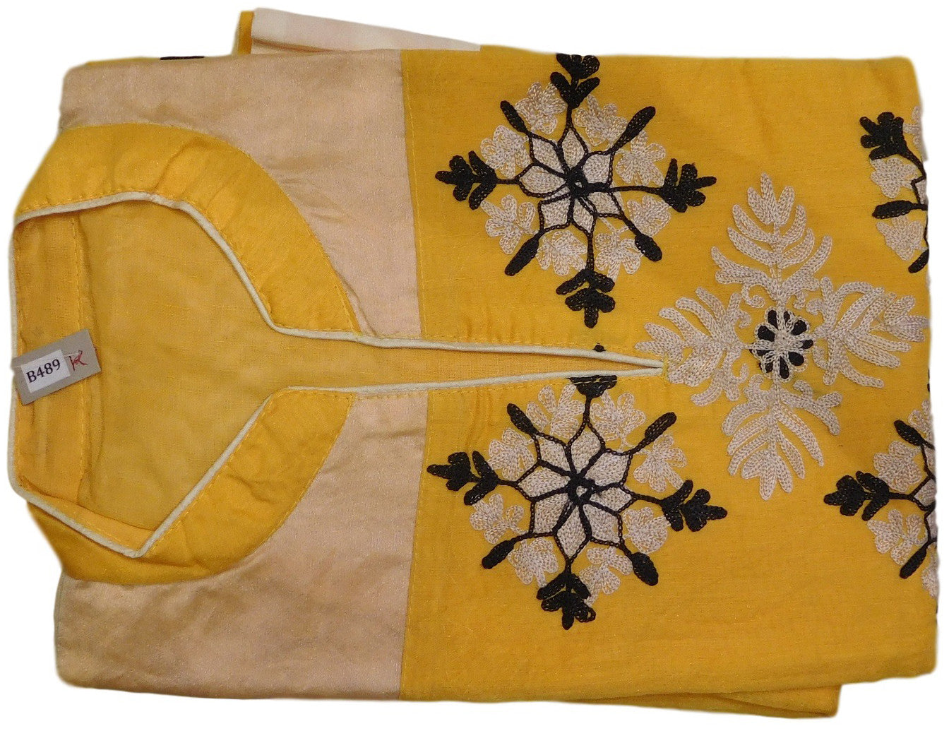 Yellow, Black & Cream Designer Cotton (Chanderi) Kurti