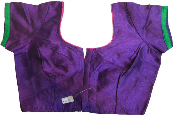 Purple Designer Blouse With Green Taping