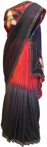 Red & Grey Designer Georgette Saree With Hand Embroidery Border