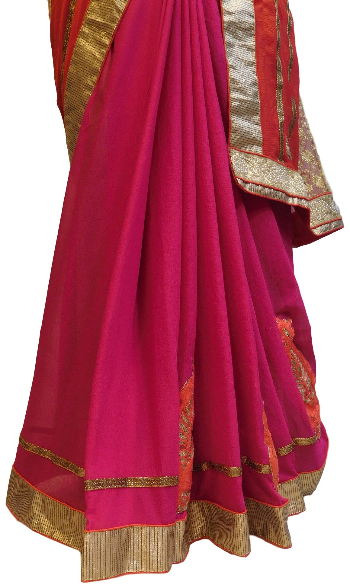 Red & Pink Designer Georgette Saree